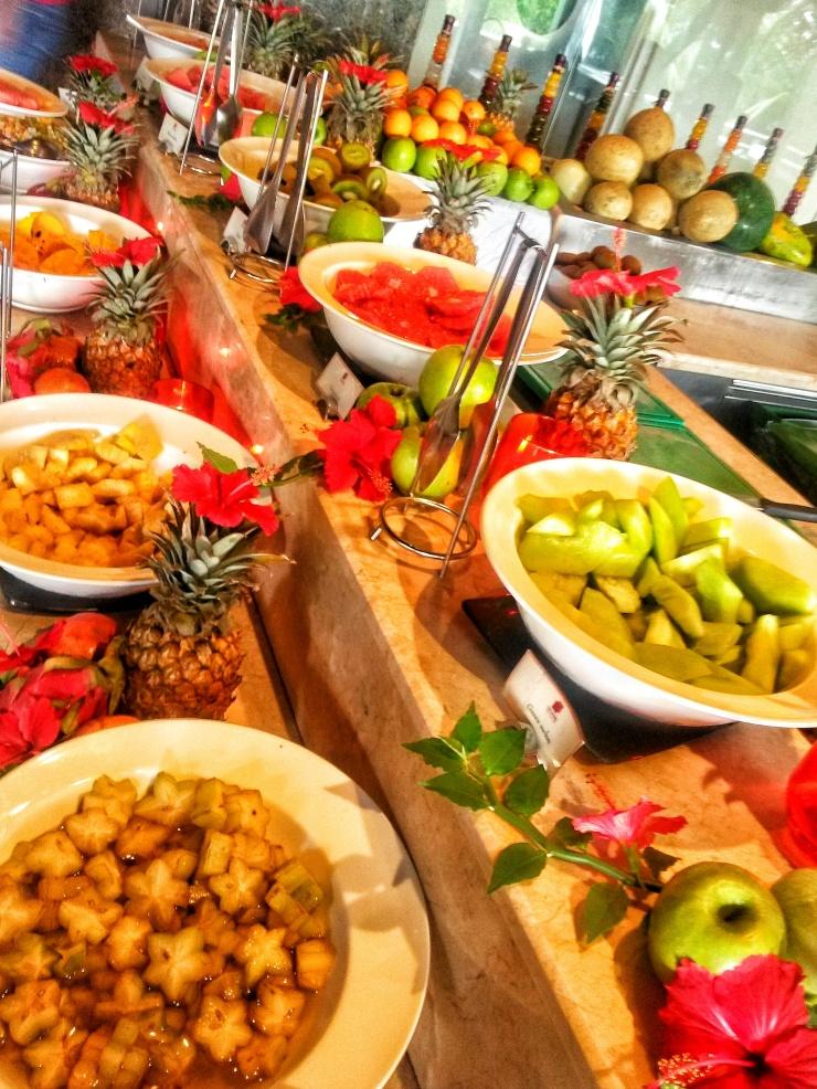 Seychelles 5 star resort fruit buffet breakfast