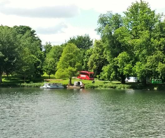 boating on lake Leeds Castle