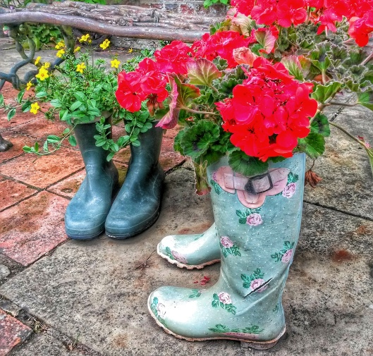 wellington boot flower pots