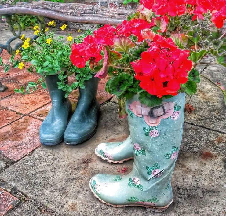 wellington boot flower pots