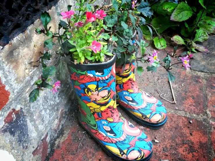 wellies flower pots