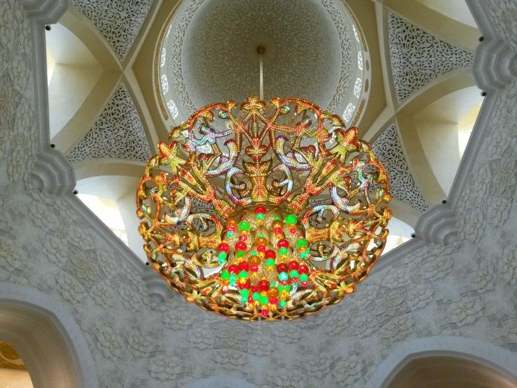 chandelier inside Grand Mosque Abu