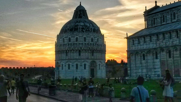 pisa monument sunset