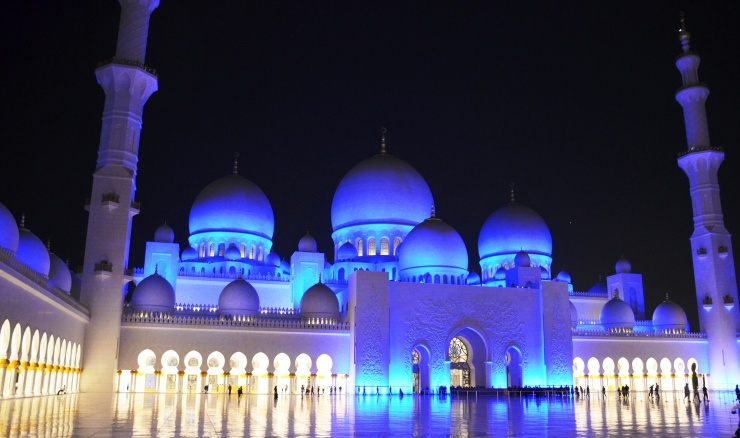 grand mosque Abu Dhabi night time visit