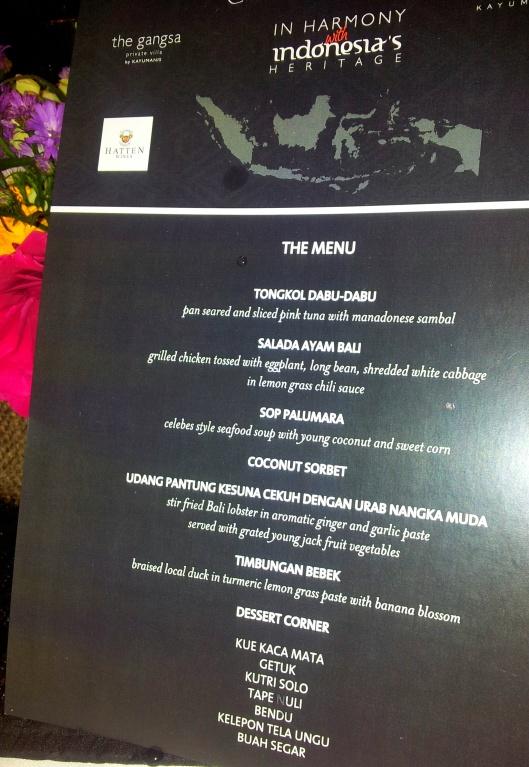 gourmet Balinese tasting menu dinner