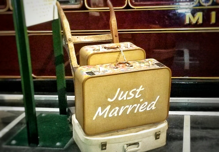 old Just Married Suitcase