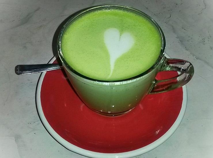 soya matcha latte coffee art