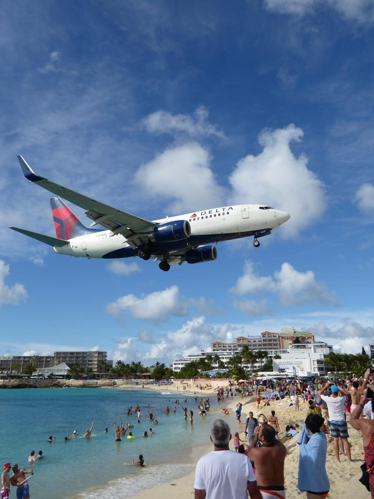 St Maarten island plane beach