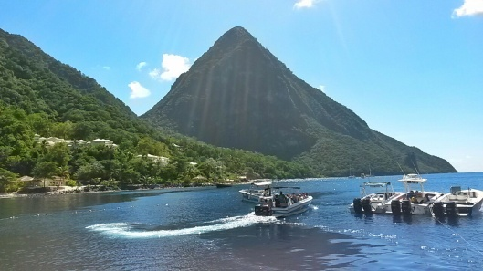 Pitons beach view St Lucia