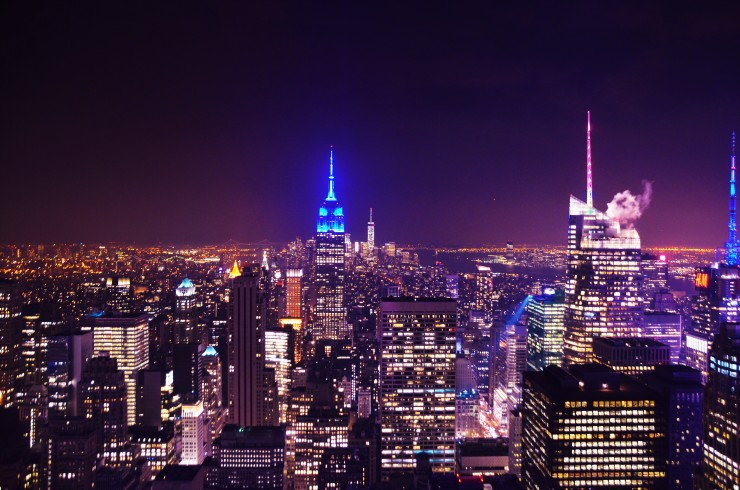 New York by night skyline