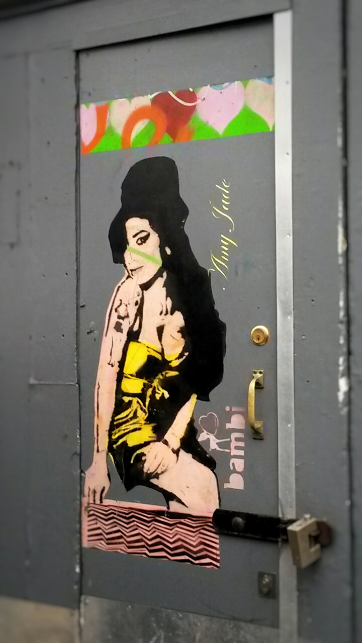 Bambi Amy Winehouse street art door Camden