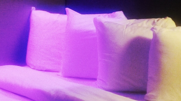 purple lighting decor Bloc Hotel