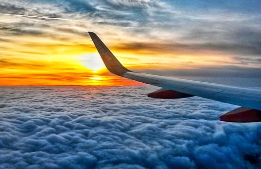 sunset view from plane window seat