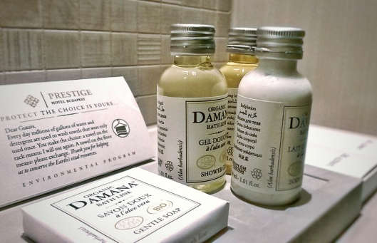 Prestige Hotel bathroom Damana toiletries