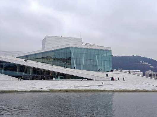 walking on roof of Oslo Opera House