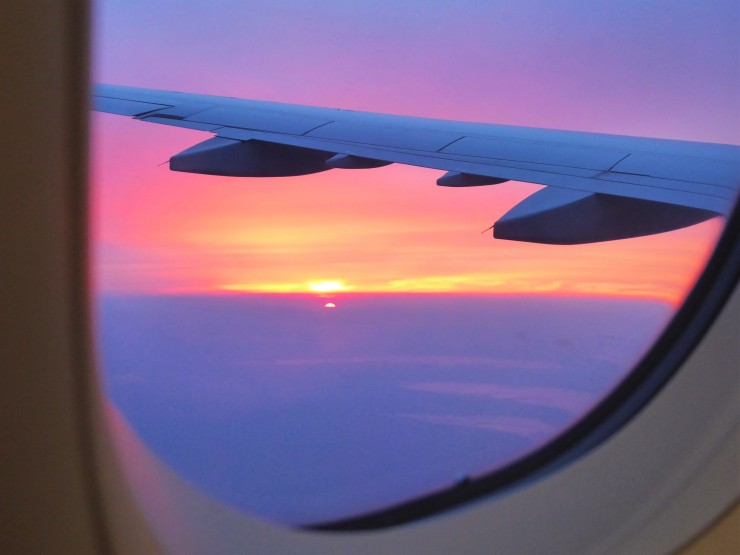 aeroplane view sunset