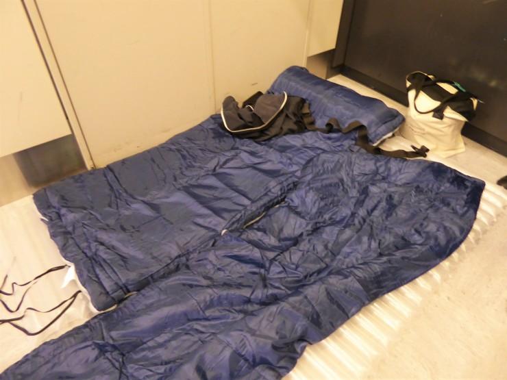 sleeping on airport floor