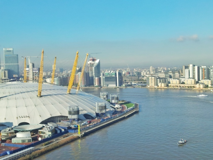 The 02 Greenwich cable car view