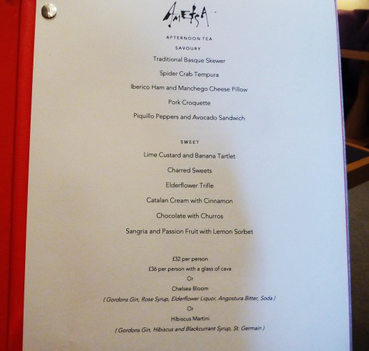 Ametsa London Afternoon Tea Menu