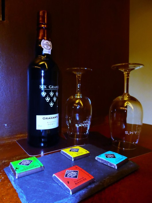 Port wine and chocolates in hotel