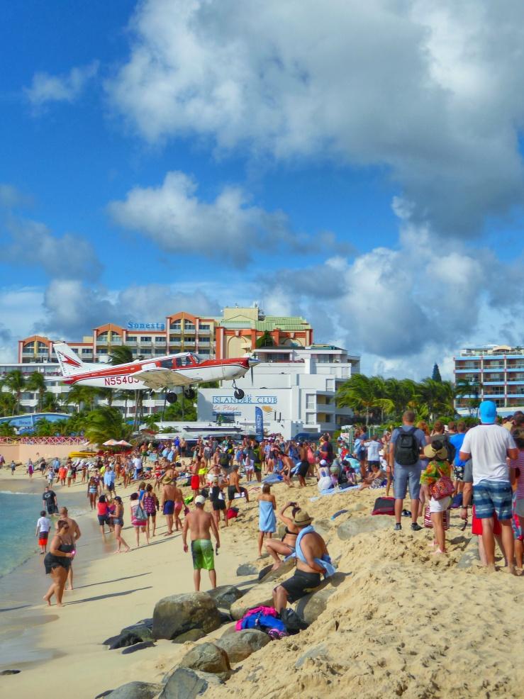 Plane Landing Beach Runway St Maarten