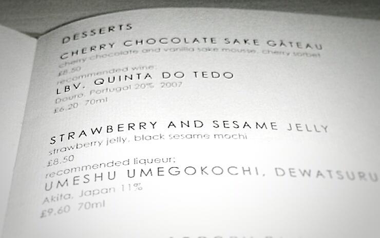 Sake No Hana Dessert Menu