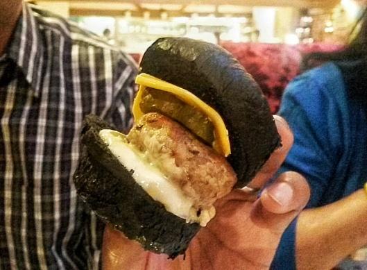 Lamb Cheese Burger black bread