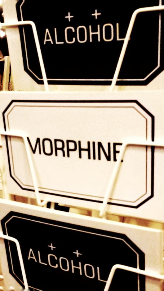medical alcohol morphine postcards