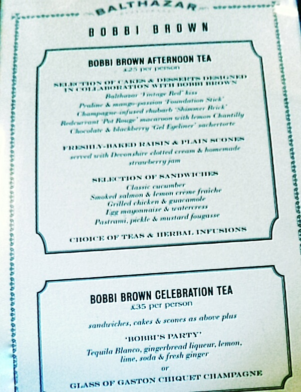 Bobbi Brown Afternoon Tea Menu