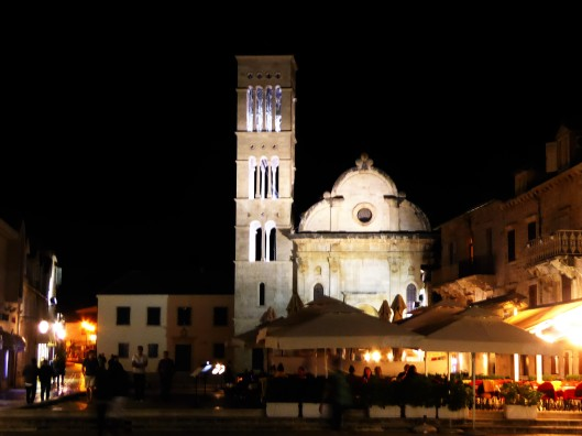 Hvar Main Square at night