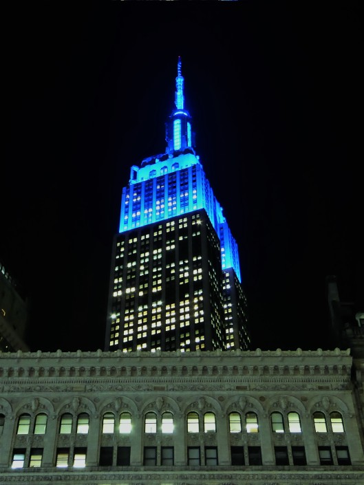 Empire State Building blue lighting