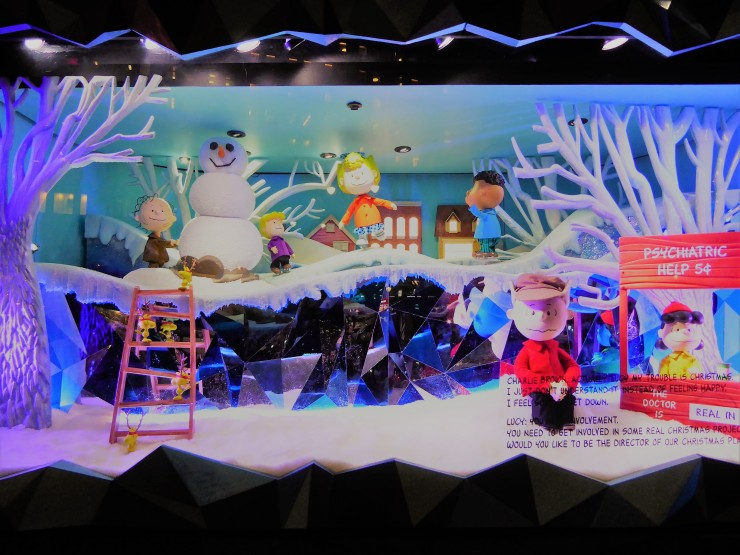 Macys Christmas window display Charlie Brown