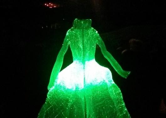 green light dress sculpture