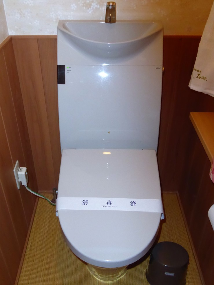 toilet with attached sink