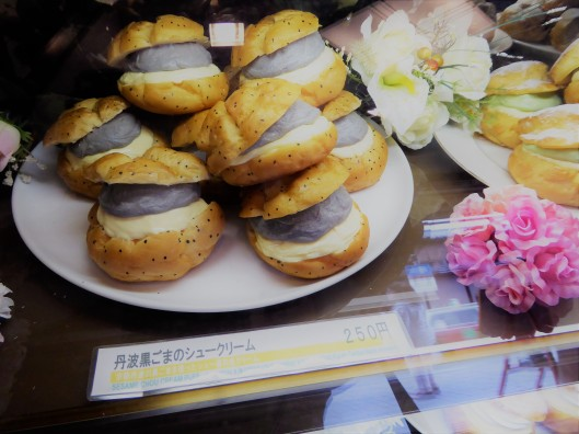 black sesame choux cream puff