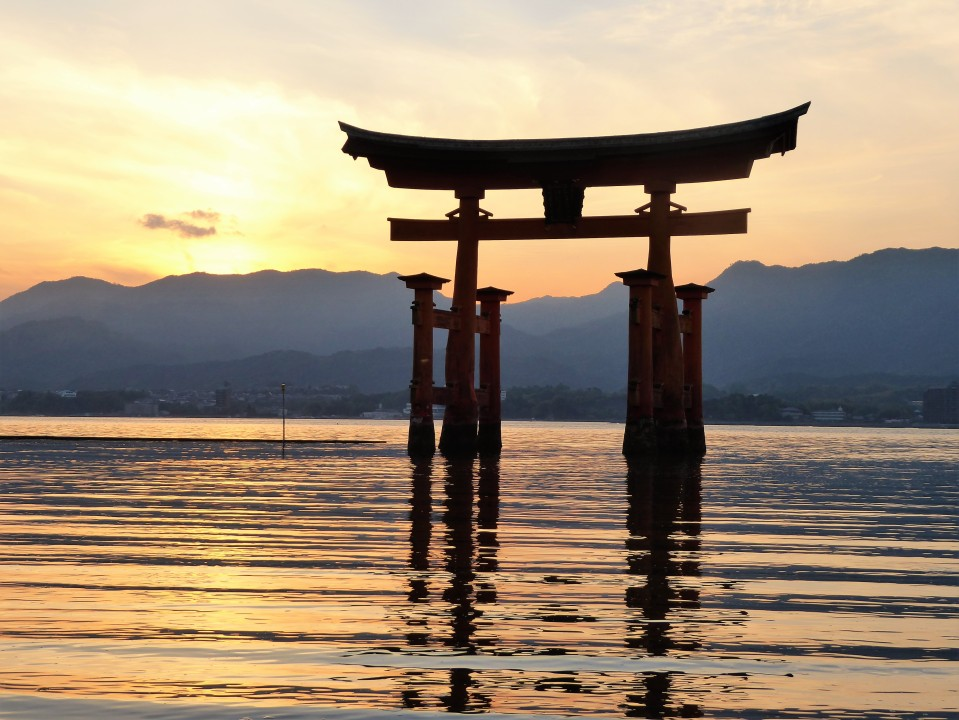 sunset Miyajima Island Japan