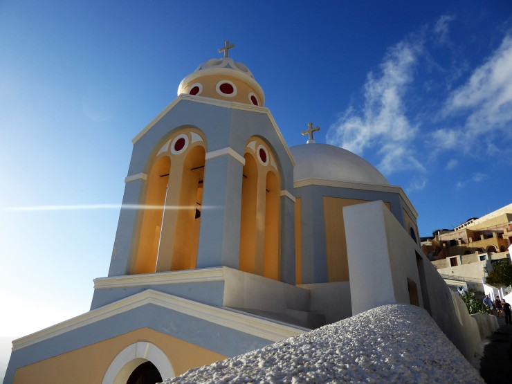 Santorini colourful churches