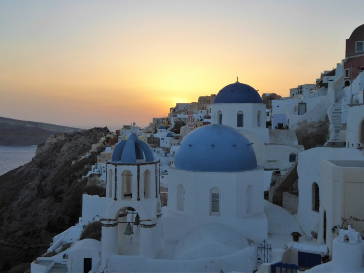 Oia blue churches sunset