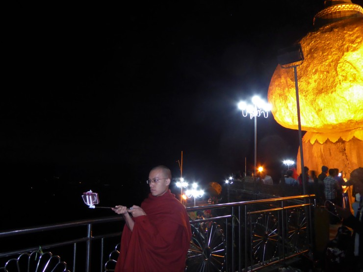monk with selfie stick
