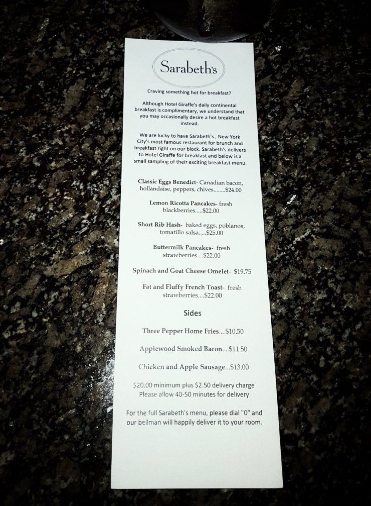 Sarabeths Brunch Menu New York